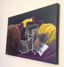 Bradford City  - Old Boots and Ball  original artwork on Box Canvas 90cm x 70cm